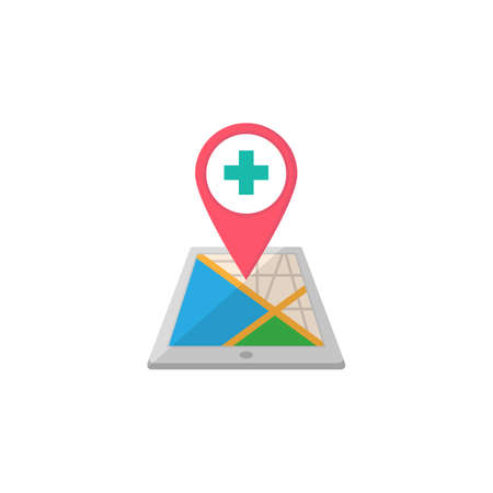 gps device: Hospital map pointer flat icon, mobile gps