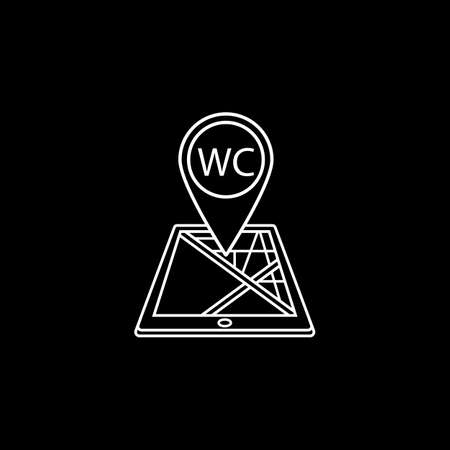 WC toilet map pointer line icon, mobile gps Illustration