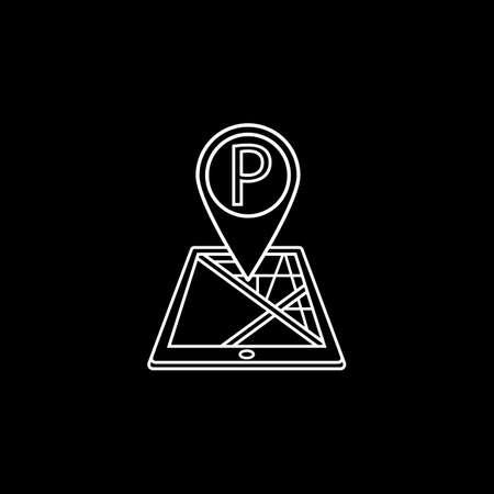 Parking map pointer line icon, mobile gps Illustration