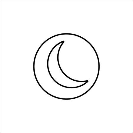 Sleep mode line icon, mobile sign and new moon pictogram, vector graphics, a linear pattern on a white background, eps 10.