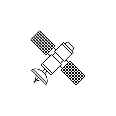 Icône de ligne satellite, navigation et communication, graphiques vectoriels, un motif linéaire sur un fond blanc, eps 10.