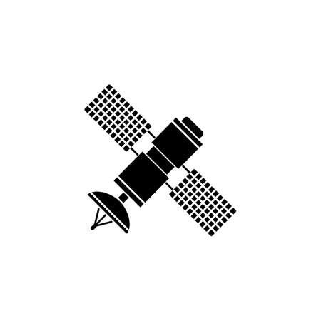 Satélite icono sólido, la navegación y la comunicación, gráficos vectoriales, un patrón lleno sobre un fondo blanco, eps 10.