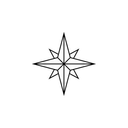 compass rose: Wind rose line icon, navigation and compass sign, vector graphics, a linear pattern on a white background, eps 10.