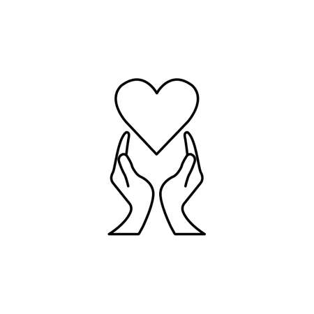 Heart with hands line icon,  healtcare sign, vector graphics, a linear pattern on a white background, eps 10. Illustration