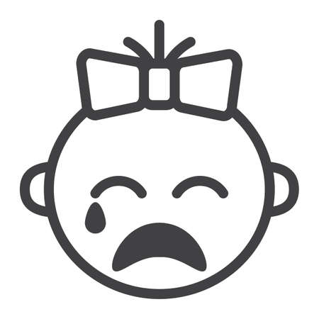 bald girl: Baby girl cry line icon, child and infant, vector graphics, a linear pattern on a white background, eps 10. Illustration