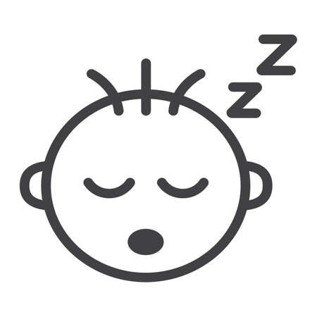 Baby boy sleep line icon, child and infant, vector graphics, a linear pattern on a white background, eps 10.