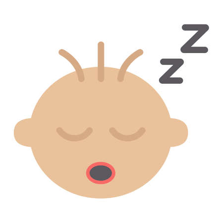 Baby boy sleep flat icon, child and infant, vector graphics, a colorful solid pattern on a white background, eps 10. Illustration