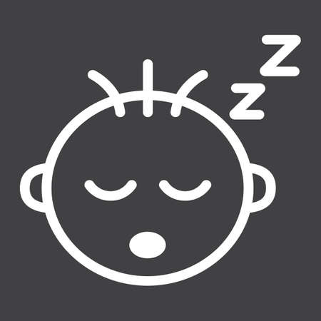 Baby boy sleep line icon, child and infant, vector graphics, a linear pattern on a black background, eps 10.