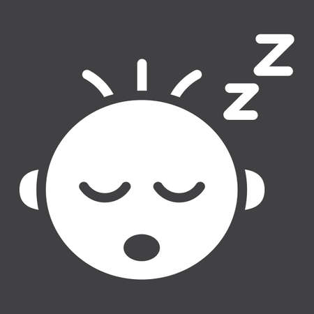 Baby boy sleep solid icon, child and infant, vector graphics, a filled pattern on a black background, eps 10.