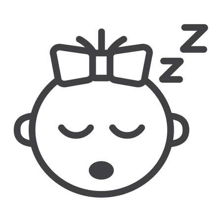 Icône de ligne de sommeil bébé fille, enfant et bébé, graphiques vectoriels, un motif linéaire sur fond blanc, eps 10.