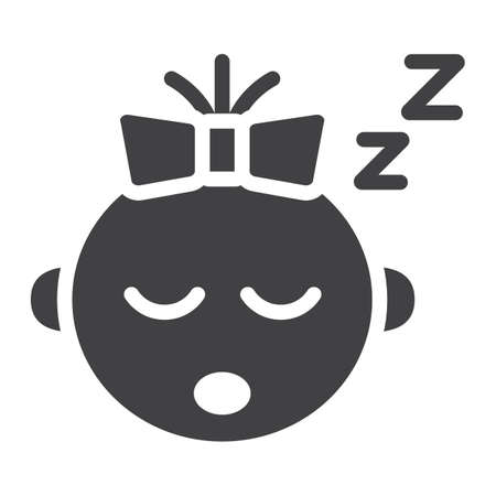 Baby girl sleep solid icon, child and infant, vector graphics, a filled pattern on a white background, eps 10.