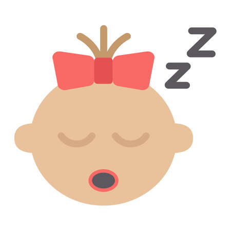 Baby girl sleep flat icon, child and infant, vector graphics, a colorful solid pattern on a white background, eps 10. Illustration
