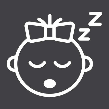 Baby girl sleep line icon, child and infant, vector graphics, a linear pattern on a black background, eps 10.