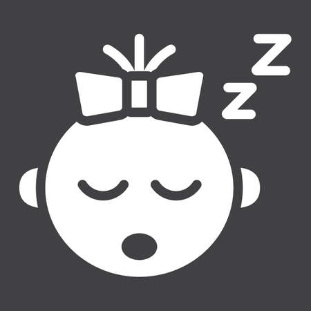 Baby girl sleep solid icon, child and infant, vector graphics, a filled pattern on a black background, eps 10. Illustration