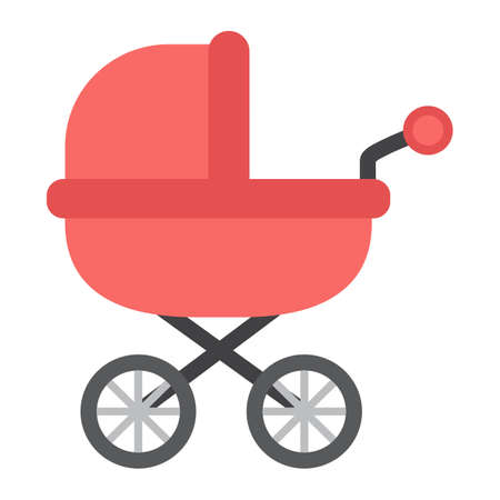 perambulator: Baby bib flat icon, pram and pushchair, vector graphics, a colorful solid pattern on a white background, eps 10.