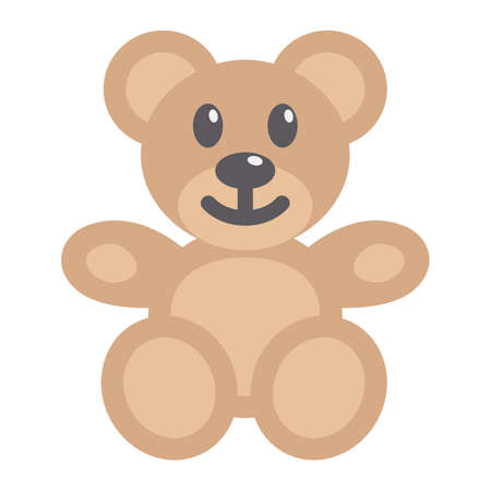 Teddy bear flat icon, plush toy and baby, vector graphics, a coloful solid pattern on a white background, eps 10. Illustration