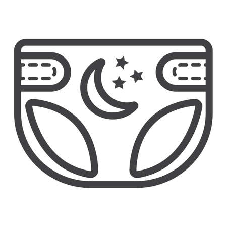 Diaper line icon, nappy and protection, vector graphics, a linear pattern on a white background, eps 10. Illustration