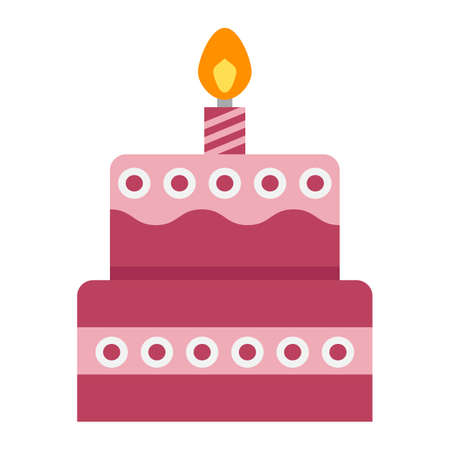 cupcake illustration: Birthday cake flat icon, sweet and holiday, vector graphics, a colorful solid pattern on a white background, eps 10.