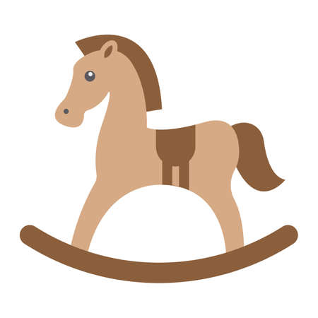 eps vector icon: Rocking horse flat icon, wooden toy, vector graphics, a colorful solid pattern on a white background, eps 10.