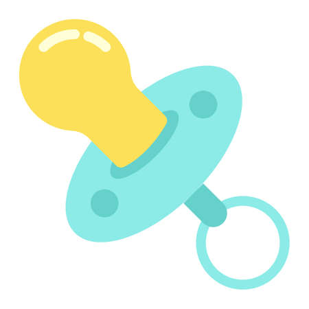 Baby dummy flat icon, baby pacifier and nipple, vector graphics, a colorful solid pattern on a white background, eps 10.