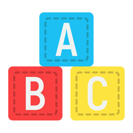 ABC blocks flat icon, alphabet cubes and education, vector graphics, a colorful solid pattern on a white background, eps 10.