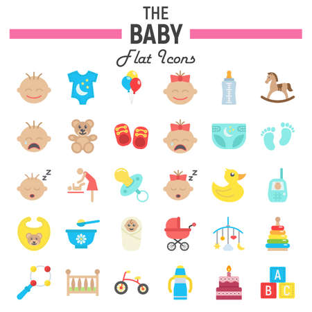cute bear: Baby flat icon set, kid symbols collection, vector sketches, logo illustrations, colorful solid pictograms package isolated on white background, eps 10.