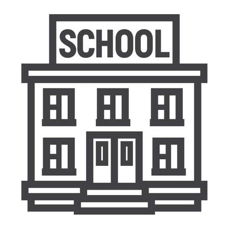 School building line icon, Education and architecture, vector graphics, a linear pattern on a white background, eps 10. Vektorové ilustrace