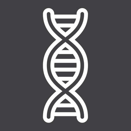 DNA line icon, science and biology, vector graphics, a linear pattern on a black background, eps 10. Illustration
