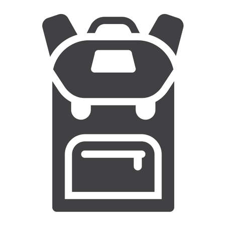 Backpack solid icon, education and school, vector graphics, a filled pattern on a white background, eps 10.