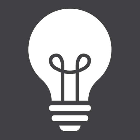 Icône solide ampoule, lampe et idée, graphiques vectoriels lumineux, un motif rempli sur un fond noir, eps 10.