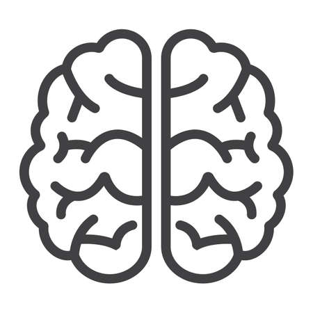 cerebro blanco y negro: Brain line icon, brainstorm and idea, medical vector graphics, a linear pattern on a white background, eps 10.