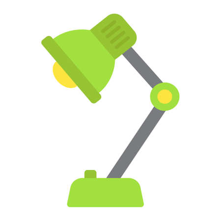 Desk lamp flat icon, bulb and light, vector graphics, a colorful solid pattern on a white background, eps 10.