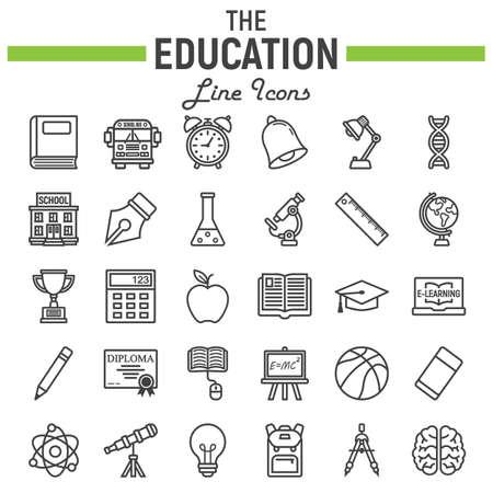 Jeu d'icônes ligne éducation, collection de symboles de l'école, croquis de vecteur de connaissances, illustrations de logo, paquet de pictogrammes linéaires isolé sur fond blanc, eps 10