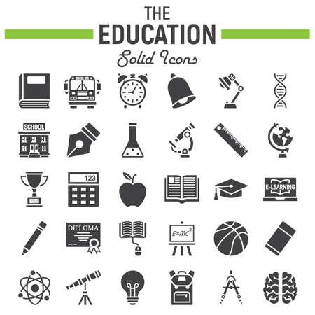 Jeu d'icônes solide éducation, collection de symboles de l'école, croquis de vecteur de connaissances, illustrations de logo, paquet de pictogrammes rempli isolé sur fond blanc, eps 10 Logo