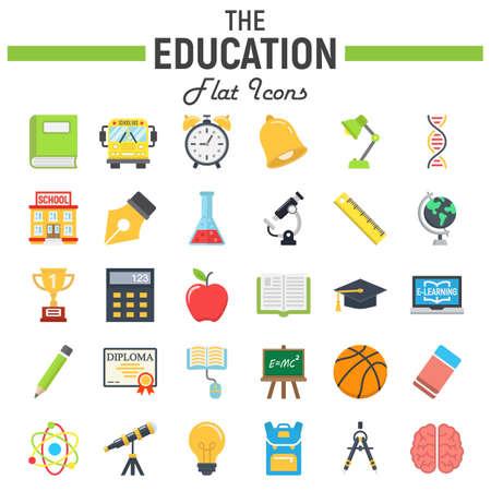 Jeu d'icônes plat de l'éducation, collection de symboles d'école, croquis de vecteur de connaissance, illustrations de logo, paquet de pictogrammes solides colorés isolé sur fond blanc, eps 10. Logo