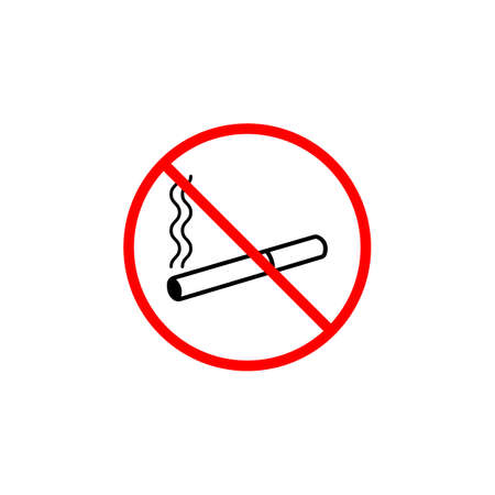 pernicious habit: No smoking line icon, prohibition sign, forbidden no smoke, vector graphics, a linear pattern red on a white background, eps 10.