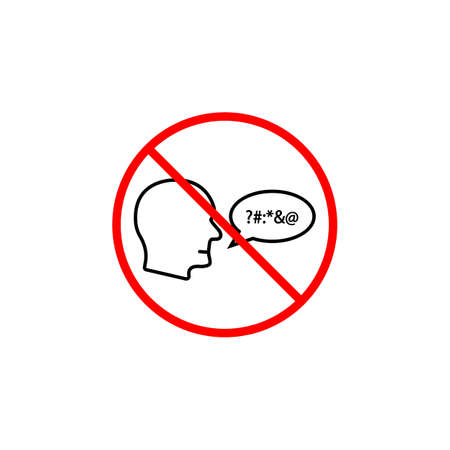 No swearing line icon, prohibition sign, forbidden and stop, vector graphics, a linear pattern red on a white background, eps 10. Illustration