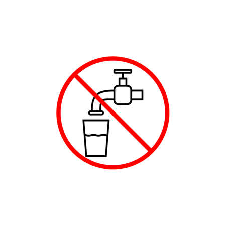drinkable: Do not drink water line icon, prohibition sign, forbidden not drinkable, vector graphics, a linear pattern red on a white background, eps 10. Illustration
