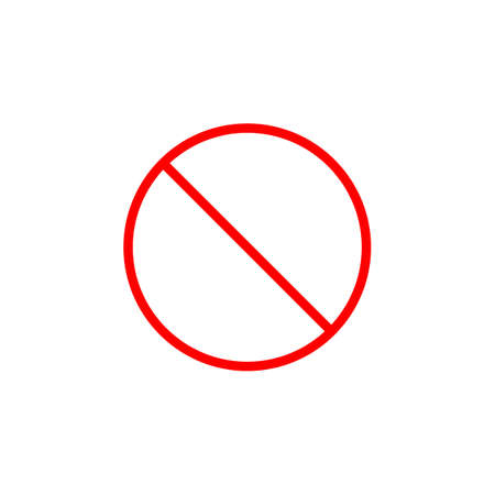 refuse: Do not entry line icon, prohibition sign, forbidden not allowed, vector graphics, a linear pattern red on a white background, eps 10.