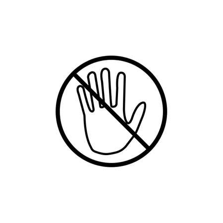 strikethrough: Do not  touch line icon, No entry prohibition sign, forbidden stop fake, vector graphics, a linear pattern on a white background, eps 10.