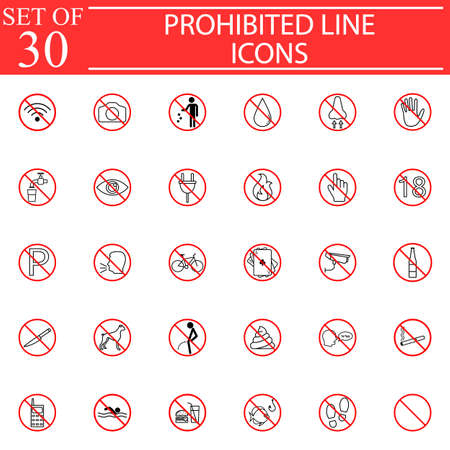 Prohibited signs line icon set, Forbidden symbols collection, vector sketches, solid logo illustrations, linear pictograms isolated red circles on white background, eps 10.