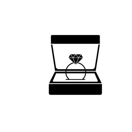 Wedding diamond ring in gift box solid icon, engagement in Valentine's day, love concept, vector graphics, a filled pattern on a white background, eps 10. Vectores