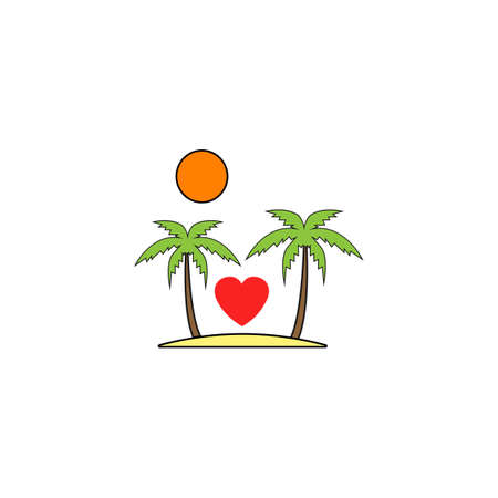 Tour in Valentines day solid icon, Travel and Island with heart, love concept, vector graphics, a colorful linear pattern on a white background, eps 10. Illustration