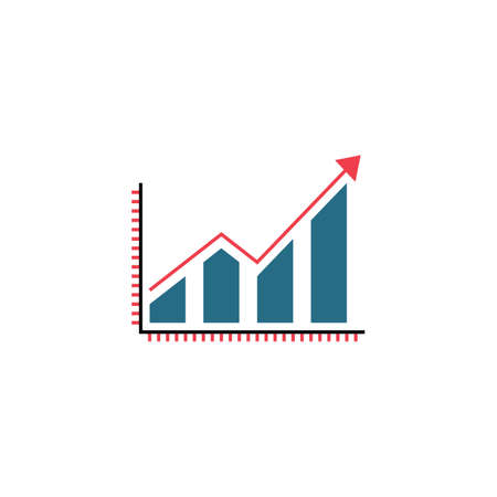 Business growing graph solid icon, Infographic, finance and managment vector graphics, a colorful linear pattern on a white background, eps 10. Illustration