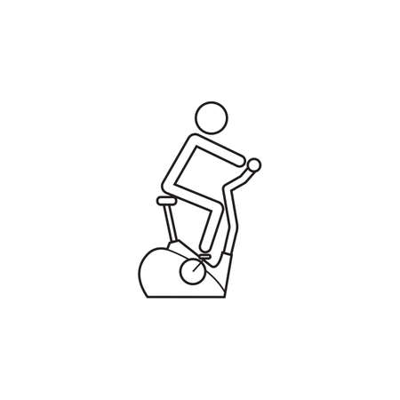 Stationary bicycle line icon, Exercise Bike and fitness sport, a linear pattern on a white background, eps 10.