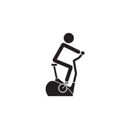 Stationary bicycle solid icon, Exercise Bike and fitness sport, vector graphics, a filled pattern on a white background, eps 10.