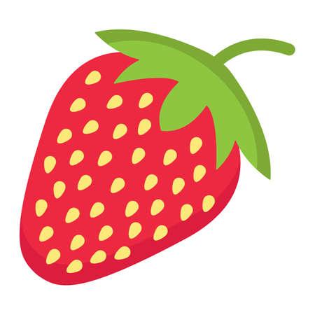 딸기 플랫 아이콘, 과일 및 다이어트, 벡터 그래픽, 흰색 배경에 다채로운 솔리드 패턴, 분기 EPS 10. 일러스트
