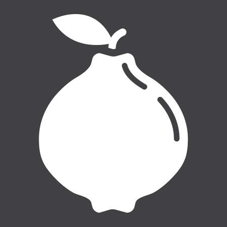 Quince solid icon, fruit and diet, vector graphics, a glyph pattern on a black background, eps 10.