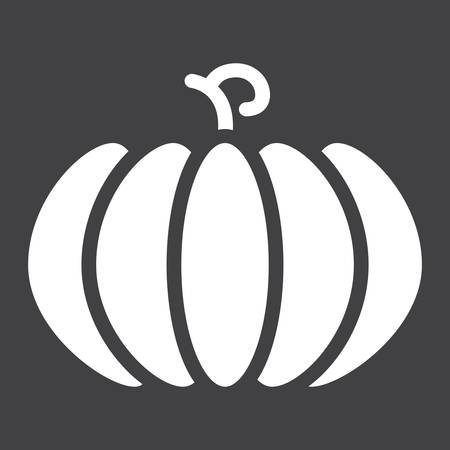 Pumpkin solid icon, fruit and vegetable, vector graphics, a glyph pattern on a black background, eps 10.