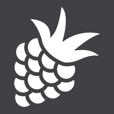 luscious: Blackberry solid icon, fruit and diet, vector graphics, a glyph pattern on a black background, eps 10.